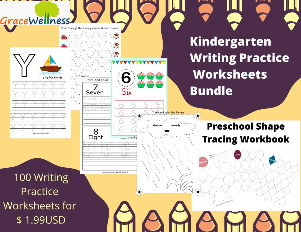 kindergarten writing practice worksheets