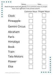 english grammar common and proper noun worksheet